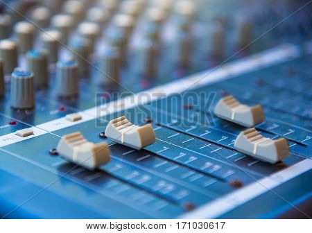 Audio sound mixer&amplifier equipment sound acoustic musical mixing&engineering concept background selective focus