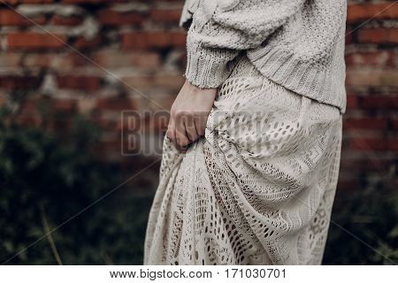 Beautiful Sensual Woman In Stylish Boho Indie Clothes, Wool Sweater And White Lace Dress, Hands Clos