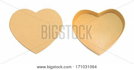 Empty opened heart shaped brown paper box with box lid gift or preset box concept in christmas and happy new year holiday isolated on white with clipping path