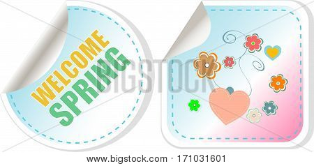 Welcome Spring Holiday Card. Welcome Spring Web Button Isolated On White