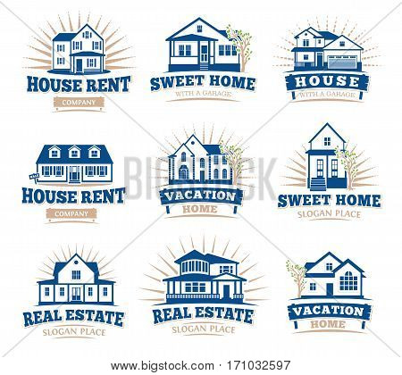 Isolated blue color architectural houses icons for real estate business leaflets emblems collection on white background vector illustration