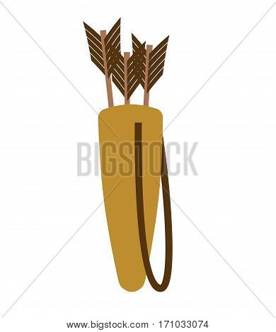 Quiver Of Arrows Isolated. Archer Accessory On White Background