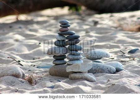 Double cairn built on Lake Superior lakeshore