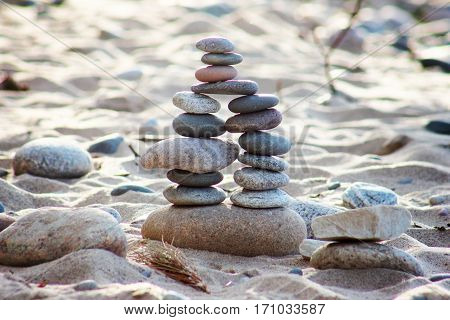 Cairn built at Lake Superior lakeshore near Pictured Rocks.