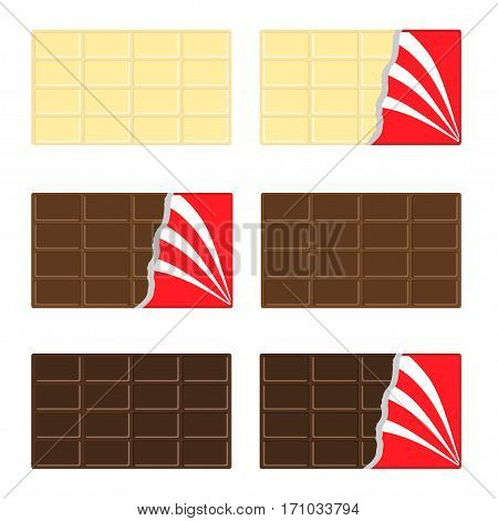 White milk dark chocolate bar icon set. Opened red wrapping paper foil . Tasty sweet dessert food. Rectangle shape Horizontal piece. Modern simple style. Flat design background. Isolated. Vector