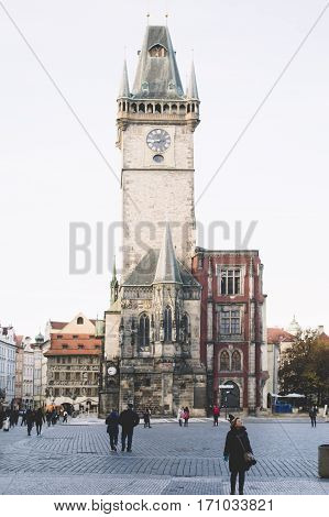 Prague Czech Republic - November 2016: Famous very old Prague Astronomical Clock at Old Town square.