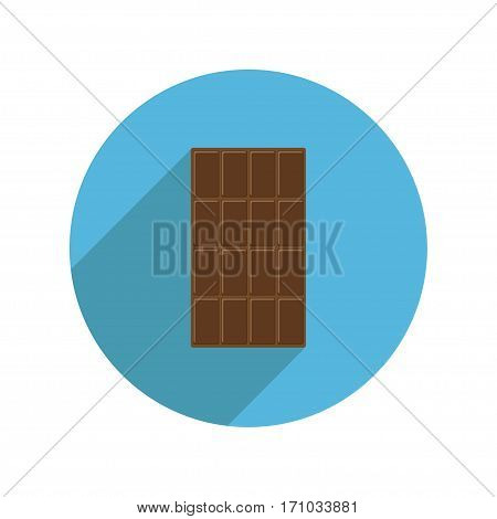 Round milk chocolate bar icon Long shadow. Tasty sweet food dessert. Rectangle shape Vertical piece. Modern simple style. Flat design. White background. Isolated. Vector