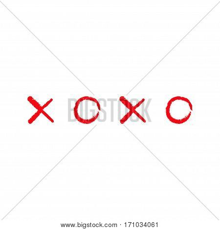 Xoxo Hugs and kisses Sign symbol mark Love card Red Chalk line Word text lettering. Flat design White background Isolated. Vector illustration