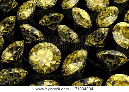 Shiny White Yellow Sapphire .3D Illustration