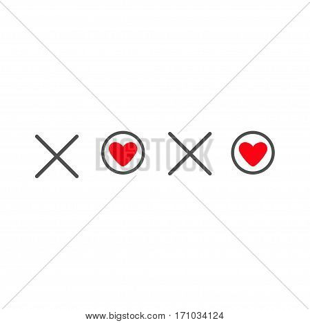 Xoxo Hugs and kisses Sign symbol mark Love card Red heart Word text lettering. Flat design White background Isolated. Vector illustration