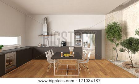 White And Gray Kitchen With Inner Garden, Minimal Interior Design
