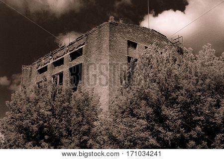 Abandoned old destroyed gloomy factory gloom effect