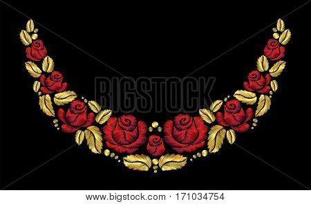 Embroidery crewel flower necklace traditional ornament decoration red roses leaves blueberry rich glowing golden gold design vector illustration vintage retro style design
