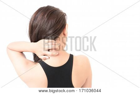 Woman Itching on shoulder and neck pain with white background for healthy care concept