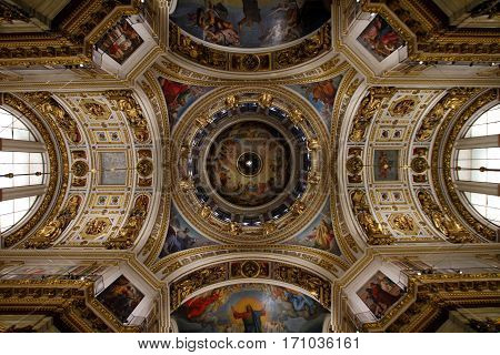SAINT-PETERSBURG RUSSIA - JANUARY 03 2017: The painting on the dome and walls of Saint Isaac's Cathedral in St. Petersburg Russia. Paintings on religious themes.