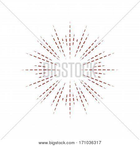 Sunburst frame. Retro gold Sun burst shape. Vintage explosion logo label badge. Firework design element. Old light rays radiating from a center. Retro vintage hipster style