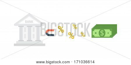 Bank attracts money by magnet - vector illustration. Credit and Commission concept.