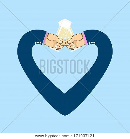 Male Hand To Drink Wine. Glass Of Champagne. Gay Wedding. Lgbt Illustration