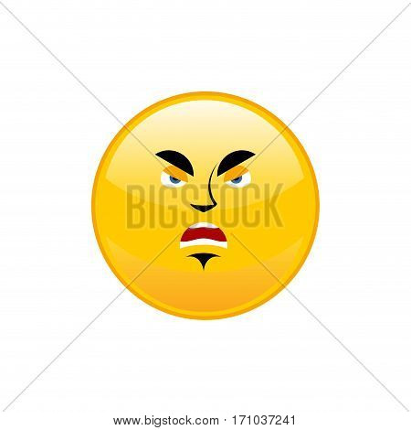 Angry Emoji Isolated. Aggressive Yellow Circle Emotion Isolated