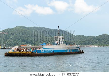Sea Ferry That Crosses Between Santos And Guarujá