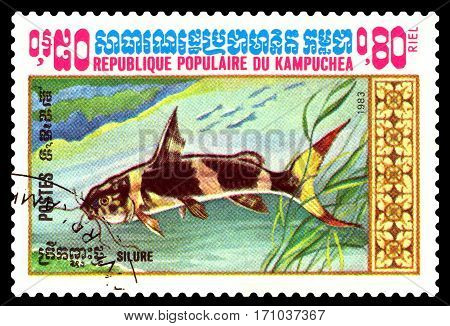 STAVROPOL RUSSIA - February 10 2017 : A Postage Stamp Printed in the Cambodia Shows fish catfish circa 1983