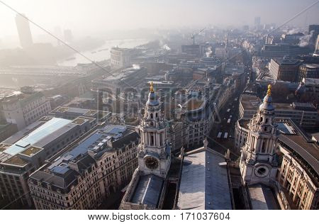 rooftop view over London view on a foggy day from St Paul's cathedral