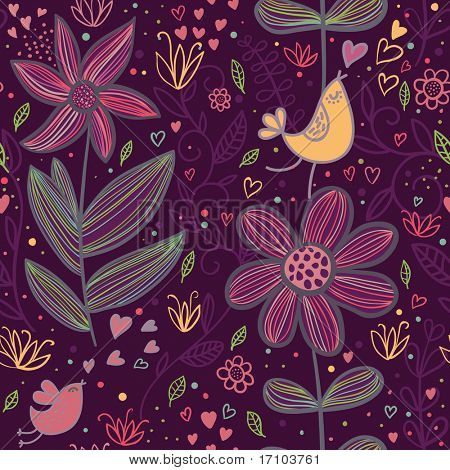 Cartoon seamless pattern in purple