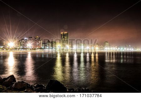 Night View Of The Coastline Of Santos Beach, Brazil