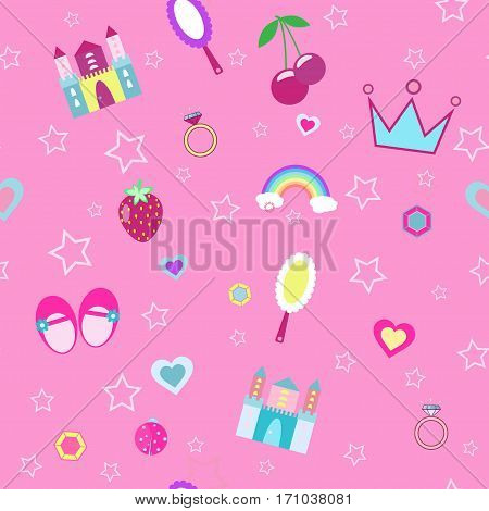 girlish seamless pattern with crown, castle pink background vector illustration