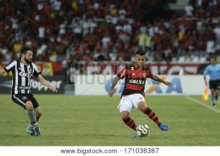 Rio Brazil - february 12 2017: Trauco during Botafogo X Flamengo held at the Nilton Santos Stadium for the 4th round of the Carioca championship (Guanabara Cup)
