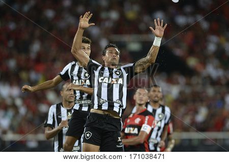 Rio Brazil - february 12 2017: Dudu Cearense during Botafogo X Flamengo held at the Nilton Santos Stadium for the 4th round of the Carioca championship (Guanabara Cup)