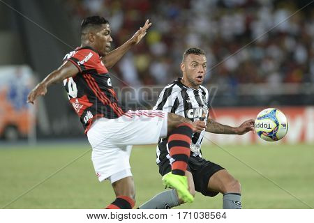 Rio Brazil - february 12 2017: Berrio during Botafogo X Flamengo held at the Nilton Santos Stadium for the 4th round of the Carioca championship (Guanabara Cup)