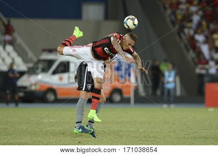 Rio Brazil - february 12 2017: Paolo Guerrero during Botafogo X Flamengo held at the Nilton Santos Stadium for the 4th round of the Carioca championship (Guanabara Cup)