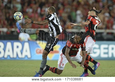 Rio Brazil - february 12 2017: Bruno Silva during Botafogo X Flamengo held at the Nilton Santos Stadium for the 4th round of the Carioca championship (Guanabara Cup)