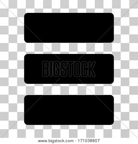 Database icon. Vector illustration style is flat iconic symbol black color transparent background. Designed for web and software interfaces.
