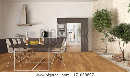 White And Brown Kitchen With Inner Garden, Minimal Interior Design