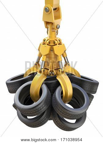 Industrial mechanical claw with tires isolated on white background - 3D illustration
