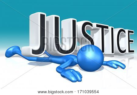 The Original 3D Character Illustration Crushed By The Word Justice