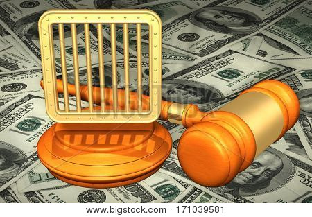 Jail Bars Legal Gavel Concept 3D Illustration