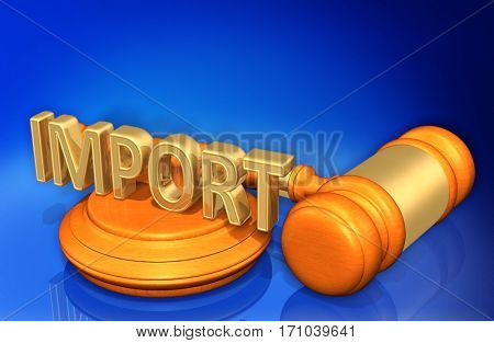 Import Legal Gavel Concept 3D Illustration