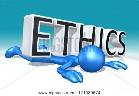 The Original 3D Character Illustration Crushed By The Word Ethics