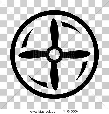 Drone Screw Rotation icon. Vector illustration style is flat iconic symbol black color transparent background. Designed for web and software interfaces.