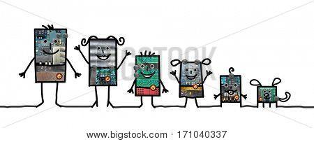 Cartoon robots - Family