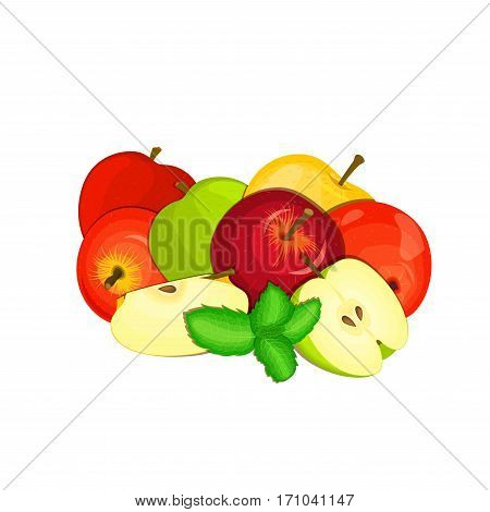 Vector composition of a few apples. Yellow, red and green apple fruits and mint leaves. Group of tasty fruits colorful design for the packaging of juice, breakfast, healthy eating, vegetarianism