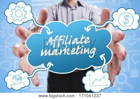 Business, Technology, Internet And Marketing. Young Businessman Thinking About: Affiliate Marketing