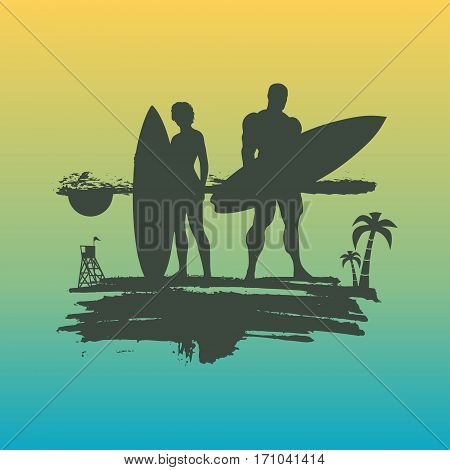 Woman and man posing with surfboard on grunge brush stroke. Monochrome silhouette. Gradient background. Vintage Surfing Graphic and Emblem for web design or print. Palm and lifeguard tower on backdrop