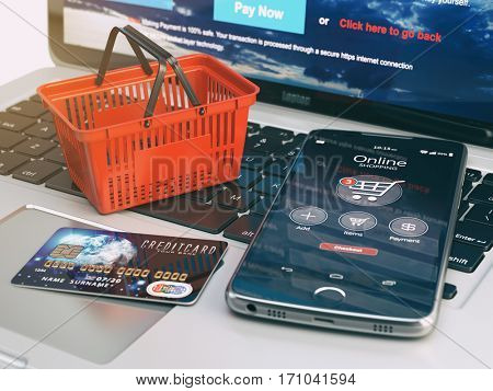 Mobile phone, shopping basket and credit card on laptop keyboard. Online shopping concept. 3d illustration