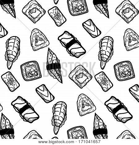 Sushi vector sketch set. Hand drawn design elements.