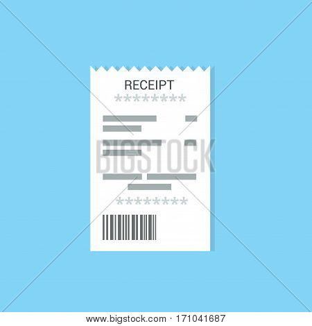 Receipt icon isolated on a colored background. Invoice sign. Bill atm template or restaurant paper financial check. Concept Paper receipts in flat style.
