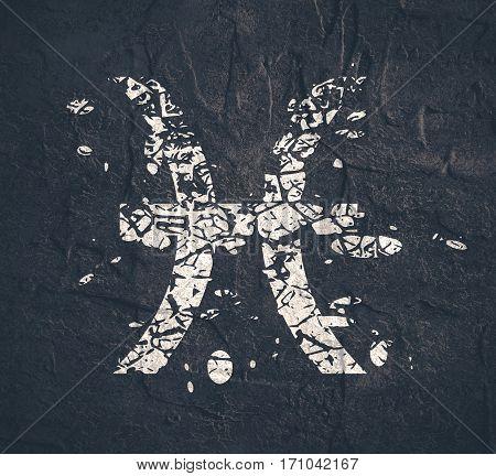 Astrological symbol. Fish sign. Grunge splatter texture